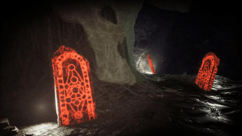 Kamenné náhroby pokryté svítívě oranžovými runami.