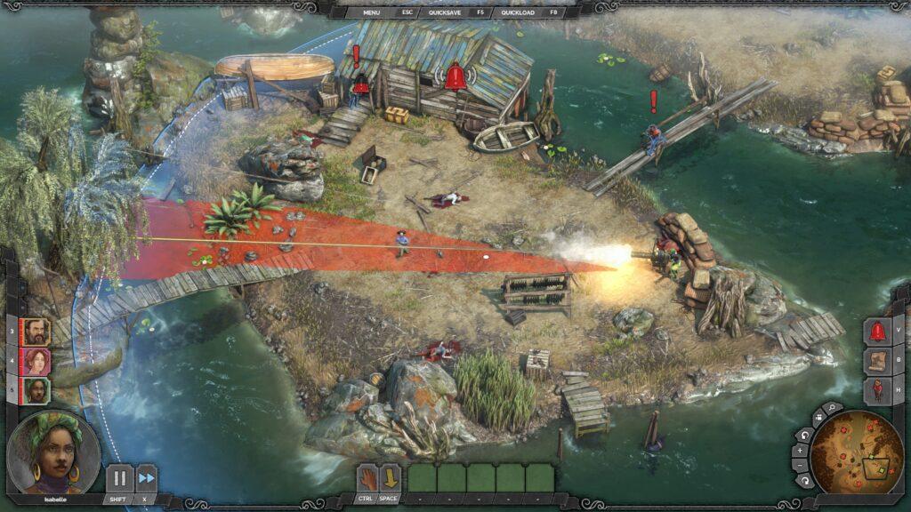 Desperados III Boj s gatlingem na ostrově
