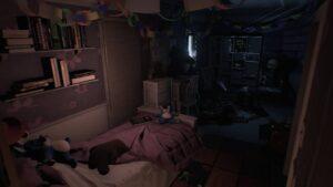 Visage: Dětský holčičí pokoj s postelí, stolem a skříní. Plný plyšáků, hraček a oudob.