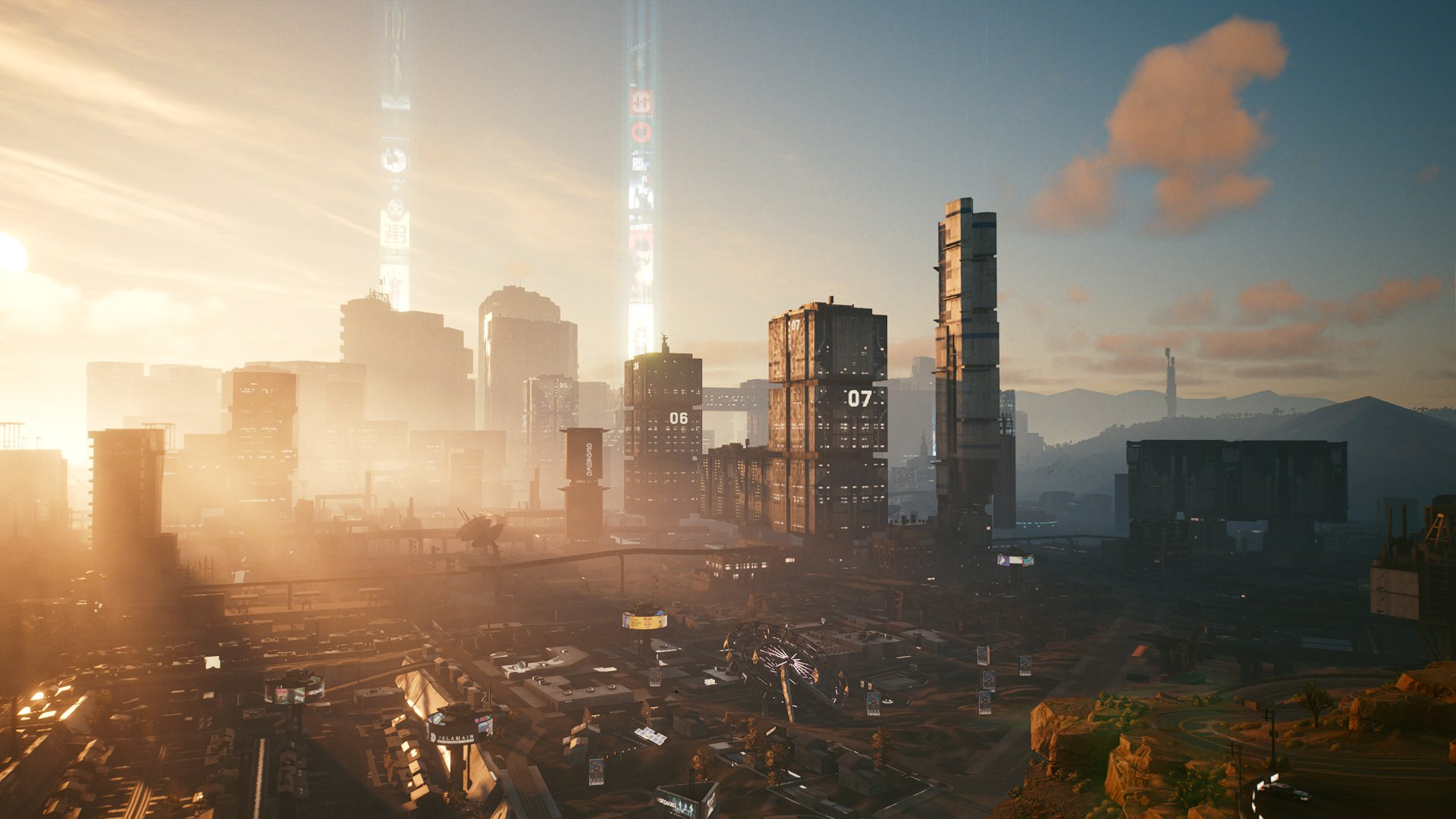 Cyberpunk 2077 město úsvit