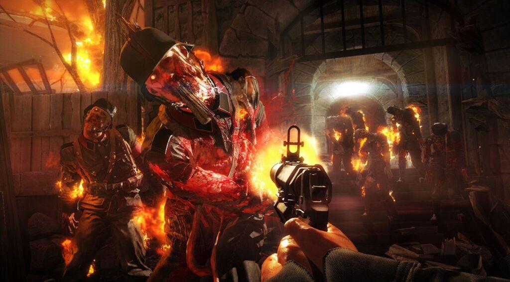 Wolfenstein: Old Blood hořící nácci