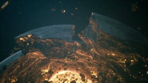 Everspace 2 - rozpadající se planeta