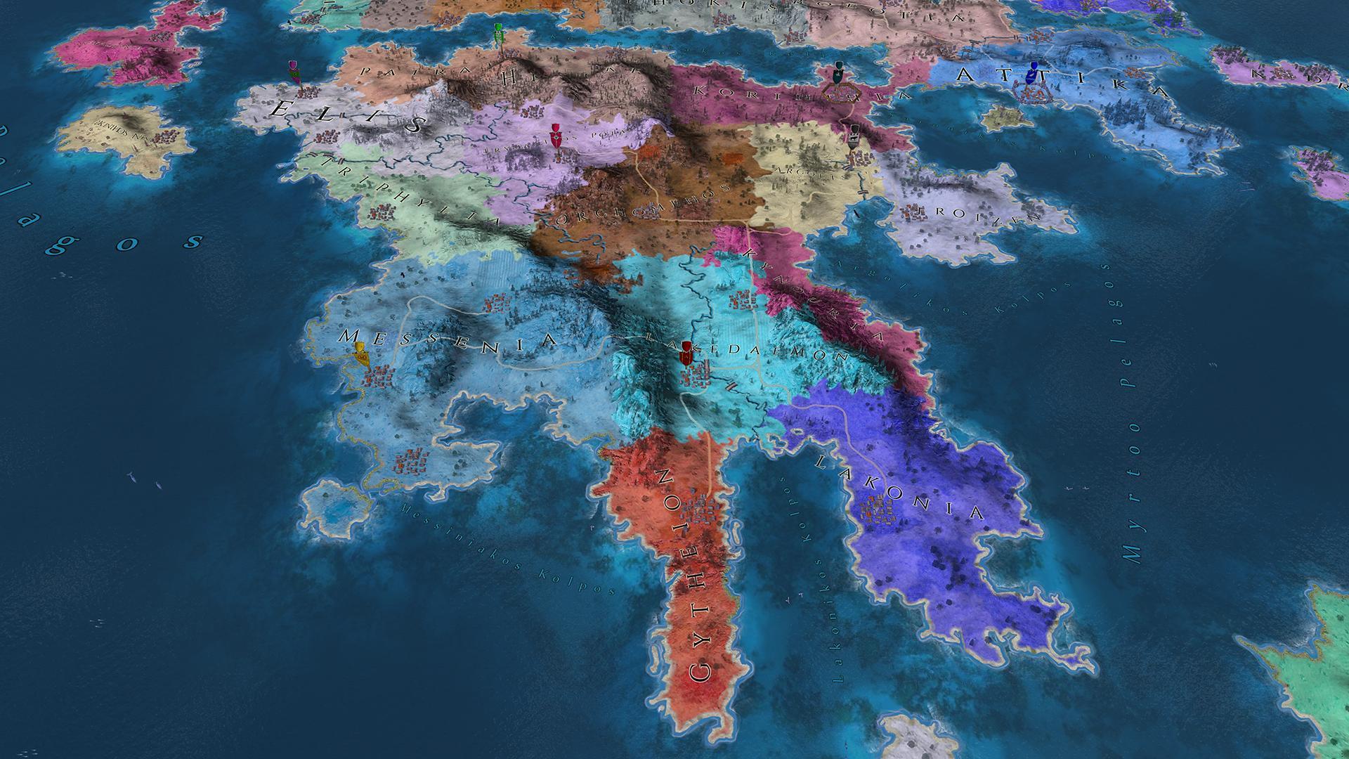 Imperiums Greek Wars území na Peloponnésu