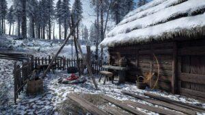 Medieval Dynasty chalupa v zimě