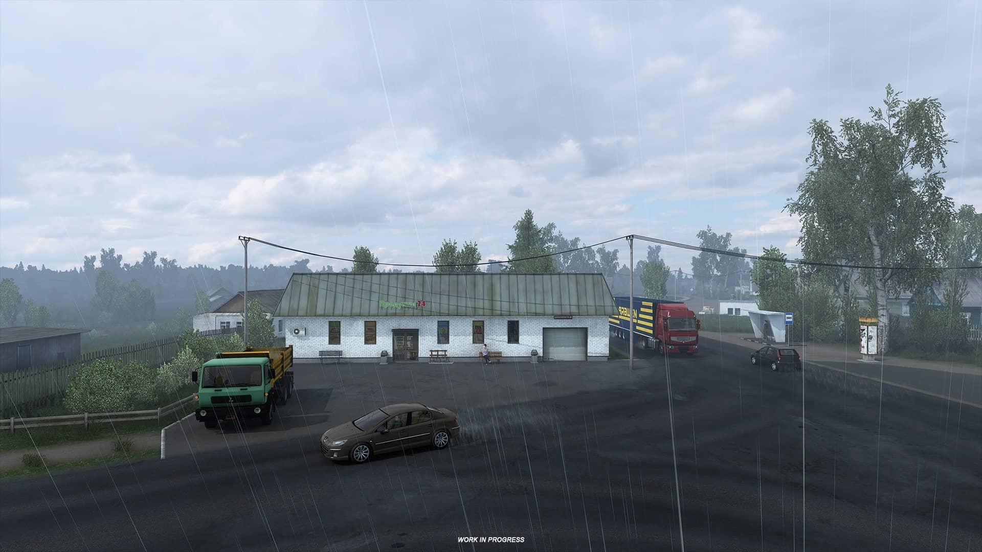 ETS 2 Heart of Russia - déšť