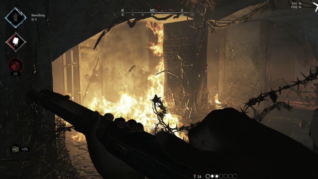 Hunt Showdown hořící dům
