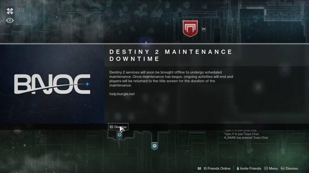 Destiny 2 maintenance