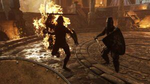 Hellsplit Arena hořící nepřítel