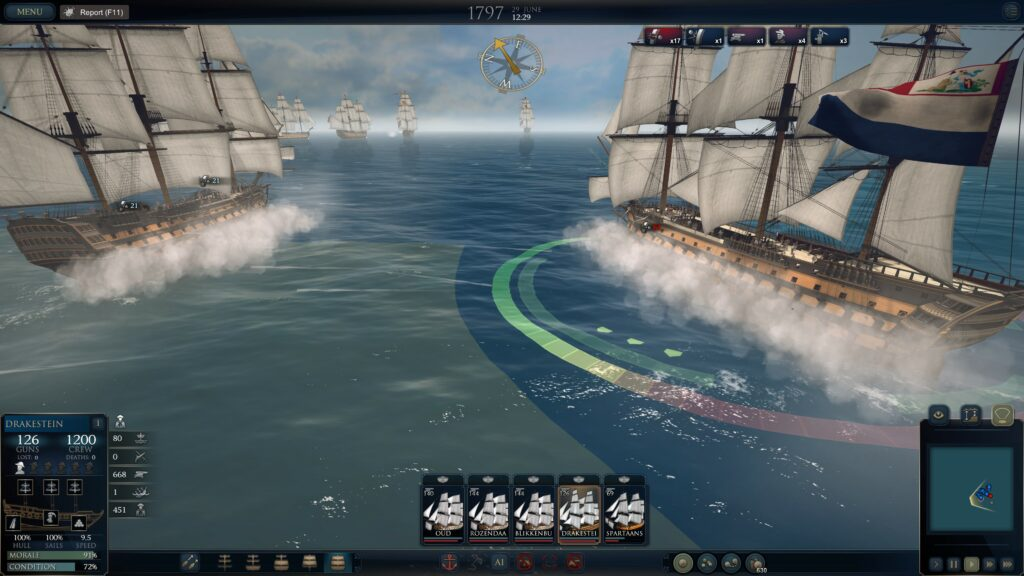Ultimate Admiral Age of Sail naval battle