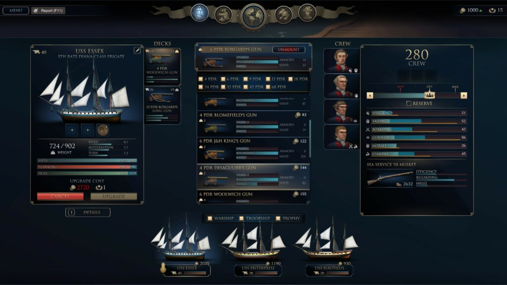 Ultimate Admiral Age of Sail ship equip