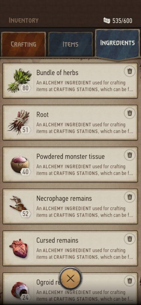 The Witcher Monster Slayer – suroviny