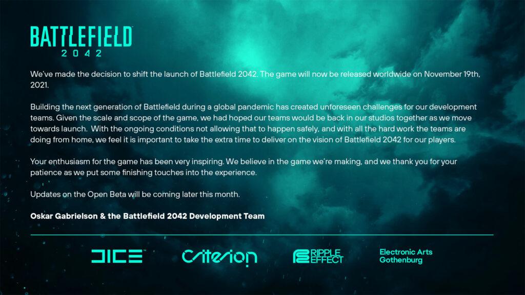 Battlefield 2042 odložení