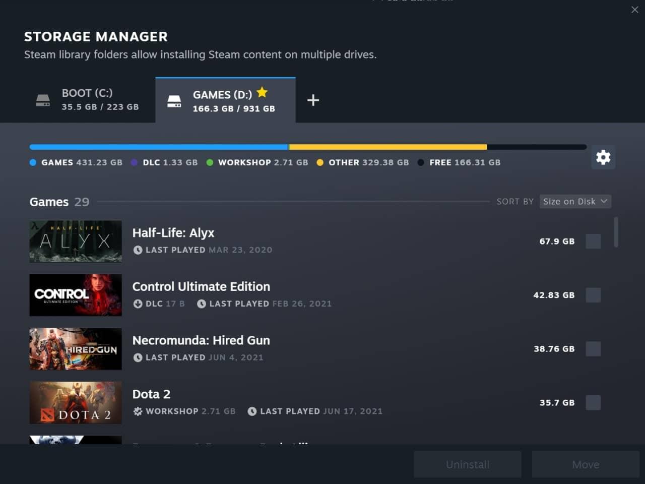 Steam - správce uložiště